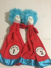 Dr Seuss Thing 1 & 2 Large Red Plush Baby Security Blanket Lovey Plush Twins