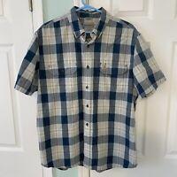 Carhartt Men's Button Down Shirt Relaxed Fit Plaid Blue Short Sleeve Blue Size L