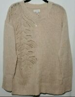 Lucky Brand Pointelle Stitch Tunic Knit Pullover Sweater Crew Neck Women's Sz M