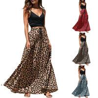 Womens Boho Leopard Long Drawstring Pleated High Waist Bohemian Maxi Skirt