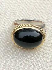 David Yurman 925 Silver and 18K Yellow Gold Oval Onyx Ring