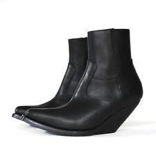 VETEMENTS $1,530 Demna Gvasalia slanted heel black leather cowboy boots 35 NEW