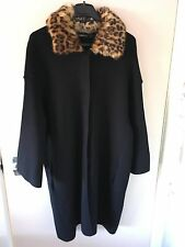 BNWT ZARA Navy Blue Knit Coat with Animal Print Faux Fur Collar Size M