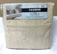Cannon Twin 3 Piece Sheet Set Melange Pattern Tan 100% Cotton