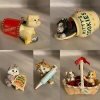 Hallmark Cat Christmas ornaments lot of 5 Vintage Small
