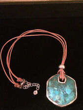 SILPADA Reversible Lapis Turquoise Leather Cord Necklace Sterling Silver N2854