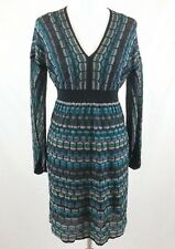 Laundry by Shelli Segal Dress Sz S Green Teal Metallic Long Sleeve Small V-neck