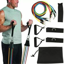 11 In 1 Pcs Kit Workout Exercise Resistance Band Set Home Fitness Gym Bands HOT