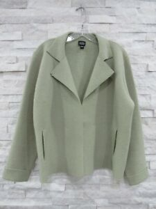 Eileen Fisher Soft Green Boiled Wool Convertible Boxy Jacket Coat S PRISTINE!