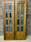 Pair of Oak Craftsman c1915 Stained Leaded Glass 7' x 4' French Doors Restored