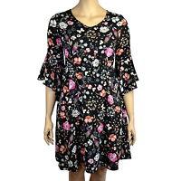 PLUS SIZE BLACK FLORAL V NECK BELL SLEEVE DRESS Sizes 16 - 30