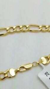 10K Solid Yellow Gold Figaro Chain Link Pendant Necklace  22""