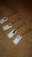 Coach Hang Tag 2 inch white leather  with Mini logo plate.