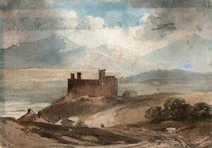 CASTLE ON COASTLINE Antique Watercolour Painting - 19TH CENTURY