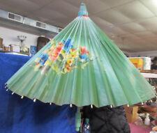 Vintage Oriental Hand Painted Wooden Umbrella Parasol