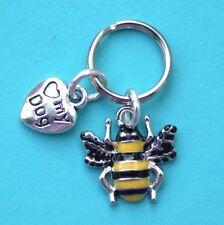 Dog Collar Charms Enamel Bee Charm & Love My Dog Heart New LB334