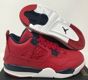 Nike Jordan 4 Retro (PS) Toddler Gym Red-Obsidian-White SZ 12c [BQ7669-617]