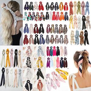 Women Boho Ponytail Scarf Elastic Hair Rope Ties Hair Scrunchies Ribbon Hairband