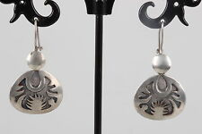 Sterling Silver Southwestern Etched Design Earrings 925 8877