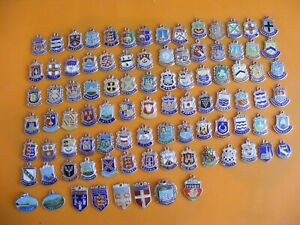 18) VINTAGE STERLING SILVER CHARM CHARMS UK & EUROPE TRAVEL SHIELD