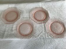 """Depression Glass Pink Dessert-Lunch Plates - Lot of 4 7 1/2"""""""