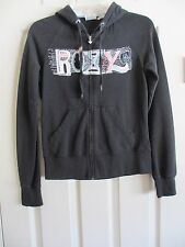 ROXY BLACK  HOODIE SMALL WITH PRINTED COLORFUL ROXY LOGO ON BACK WITH DEFECTS SM