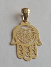 9ct Yellow Gold Filigree Heart Hamsa Hand Charm Pendant 0.5g *NEW* Present Gift