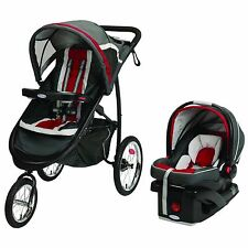 Graco FastAction Fold Jogger Click Connect Travel System Jogging Stroller, Chili