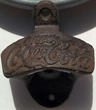 Drink Coca Cola Bottle Opener Cast Iron Rustic Wall Mount Vintage Coke SHIPSFREE
