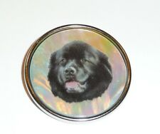 """Newfoundland - Mother of Pearl Shank Button Ant Silver Bezel 1+3/8"""" + Newf Dog"""