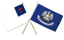 "12x18 12""x18"" Wholesale Combo Christ Christian State Louisiana Stick Flag"
