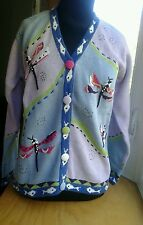 NWT Storybook Knits Cardigan Sweater Dragonflies Button Up Blue, Purple, Pink
