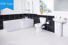 Full Modern Bathroom Suite RH L Shape Shower Bath Toilet Basin Sink Taps Splash