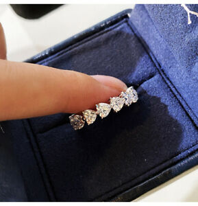 Eternity Band Heart Engagement Party Ring Women Gift 14k White Gold Over