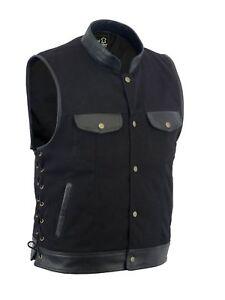 Men Motorcycle Sons of Anarchy Leather Vest Trim Denim Side Lace Waistcoat