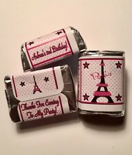 30 Eiffel Tower Paris Birthday Party Or Baby Shower Hershey Nugget Stickers Pink
