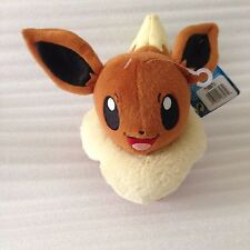 "NEW Eevee Big Eyes Pokemon Plush ~7.5"" Tall TOMY Authentic Stuffed Soft Toy"