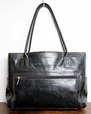 XL FOSSIL BLACK GENUINE LEATHER LAPTOP BUSINESS TOTE SHOULDER BAG HANDBAG PURSE