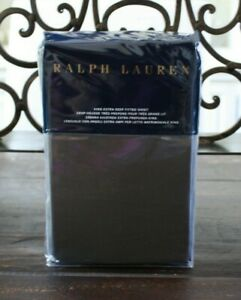 Ralph Lauren METROPOLITAN GREY King Extra Deep Fitted Sheet Solid Sateen NWT
