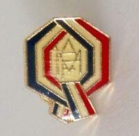 AMF Blue White Red Ribbon Small Lapel Badge Pin Vintage Enamel Scratch (N17)