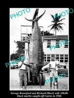 OLD 8x6 GAME FISHING PHOTO OF 1000lb BLACK MARLIN CAUGHT OFF CAIRNS c1966