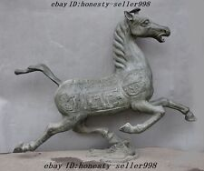 """39""""old Chinese bronze Horse riding Chebi Horse Stepping on Flying Swallow statue"""