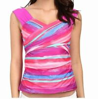 Athena Womens Swimwear Pink Size 10 Bermuda Sunrise Surplice Tankini Top $58 871
