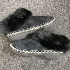 ISOTONER Black Faux Fur Bootie Slipper Size 8.5 - 9 Comfortable Cushioning K05-9
