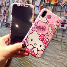 Cartoon Bow Hello Kitty Melody Tempered Glass+case cover for iphoneX 8 7 6S plus