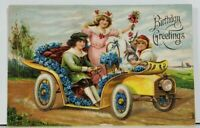 Children Driving Car Embossed Birthday Greetings c1910 Postcard M1