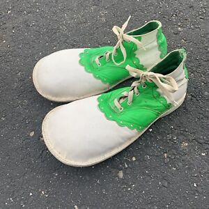"""Vintage White & Neon Green Circus Clown Shoes Specialty Oversized Vibram 13"""""""