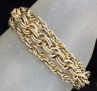Mid Century Classic Goldette Multi Strand Chain Bracelet Gold Tone Links 1018m