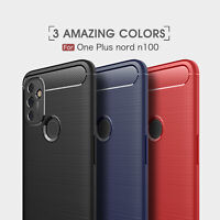 For OnePlus Nord N100 / N10 5G Carbon Fiber Brush Case+ Tempered Glass Protector