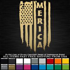 'Merica USA Tattered Flag Left down Stars & Stripes sticker decal